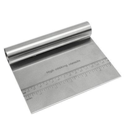 不銹鋼麵團切麵刀腸粉刀粉刮切麵粉刮板烘焙工具烘焙工具 按板刀切麵刀 (帶量度)帶尺刮刀削麵刀