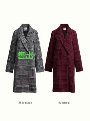 萬年不拜 復古千鳥格紋 長版大衣外套 (灰/紅 M售出)全新現貨 紅 S*1 特價500