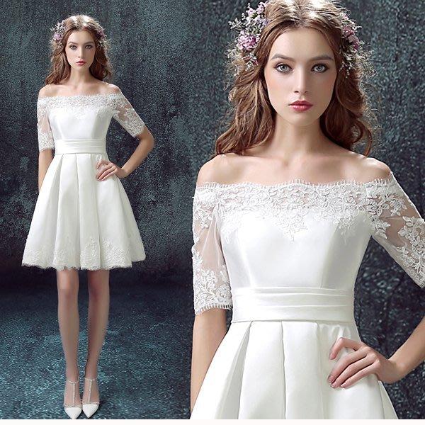 5Cgo【鴿樓】會員有優惠 520560822460 新娘結婚禮服婚禮敬酒服 白色中長袖婚禮短款婚紗小禮服 伴娘服