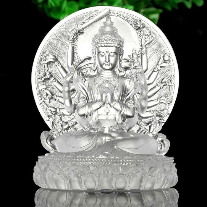 【玉寶軒】心如琉璃 佛像擺件琉璃準提菩薩大準提佛母藏傳密宗佛堂供奉擺件
