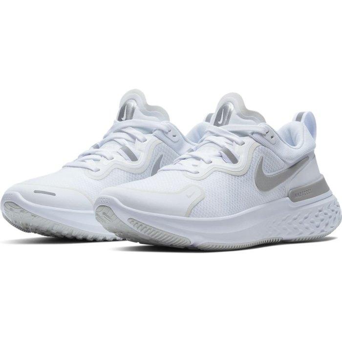 =CodE= NIKE W REACT MILER 3M反光透氣網布慢跑鞋(全白灰) CW1778-100 輕量避震 女