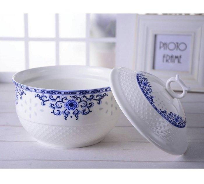 【飪我行】古典浮雕 聚寶燉煲 燉盅1.5L 強化瓷 薄胎半透明 高級日用瓷 玫瑰 青花 陶瓷鍋2002272900