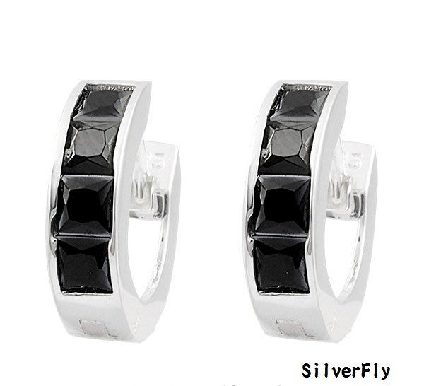 黑鑽純銀易扣耳環-黑《 SilverFly銀火蟲銀飾 》