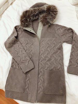 灰色頂級 真皮狐貍毛領cashmere Loro Piana羊毛外套