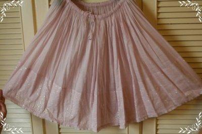 miho購買正品日本設計師品牌 ZUCCA 淺粉純棉奧黛麗赫本風百褶星圓裙(原價$26800)