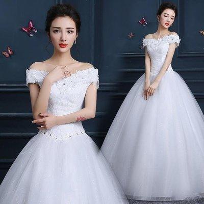 日和生活館 一字肩齊地婚紗公主韓式時尚V領婚紗齊地一字肩婚紗禮服S686