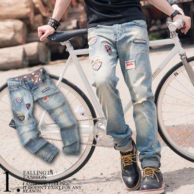 柒零年代【N8662J】韓版仿舊刷色破壞抓破徽章補釘個性牛仔褲(SH2046)Self