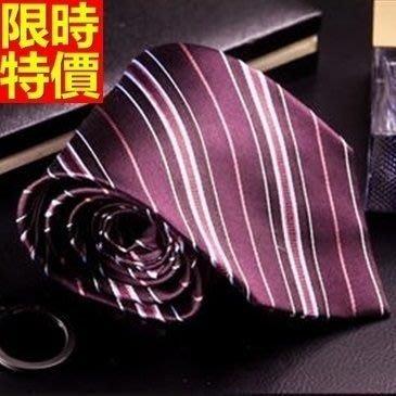 領帶 桑蠶絲男配件-英倫品位條紋真絲手打領帶66ae29[獨家進口][巴黎精品]
