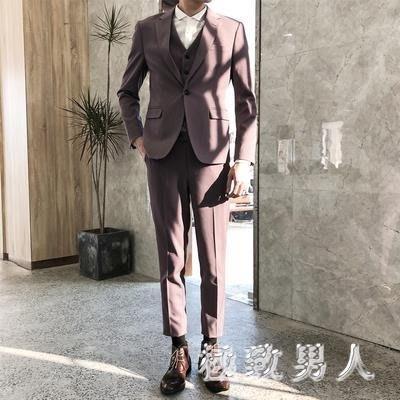 西裝男套裝修身韓版潮流英倫風男士正裝休閑小西服結婚禮服 LN599