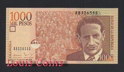 【Louis Coins】B807-COLOMBIA-2005-2016哥倫比亞紙幣 1.000 Pesos