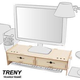 【ONE市集】電腦螢幕增高架 (加厚雙抽-橡木白) 鍵盤螢幕收納架 螢幕架 鍵盤架 鍵盤收納 抽屜 D5088T-O