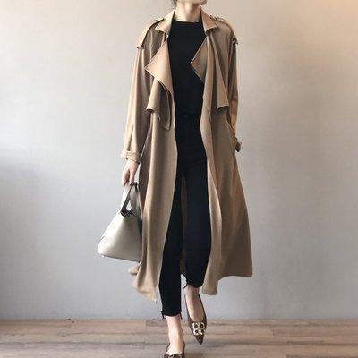 早秋 氣質長款風衣 復古英倫風寬鬆外套 黑色 卡其色 韓國歐美設計款 ♥ C Select Shop