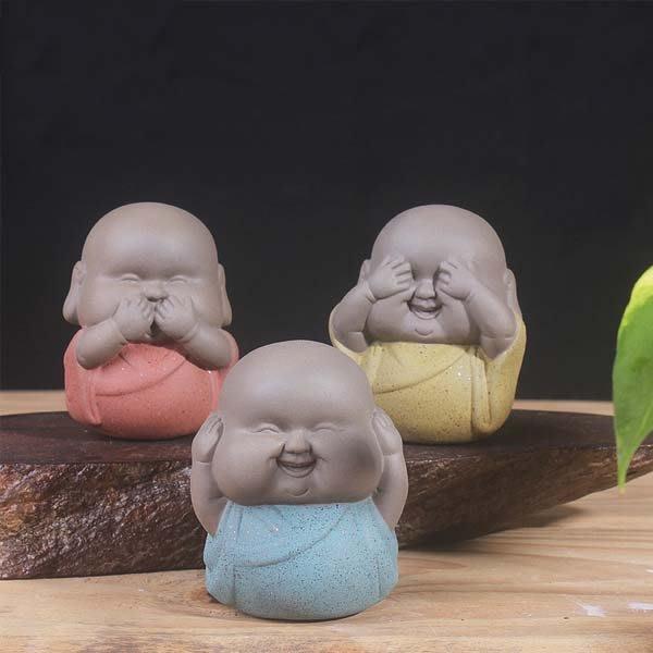 5Cgo【茗道】含稅會員有優惠525214007134 茗道三不小沙彌茶寵擺件小和尚精品紫砂茶寵彩砂陶瓷手工茶具配件功夫