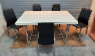 二手傢俱推薦【樂居二手家具館】B1201FJJ 白色餐桌椅組(一桌五椅)洽談桌 會議桌 辦公桌 電腦桌書桌 台北新竹桃園