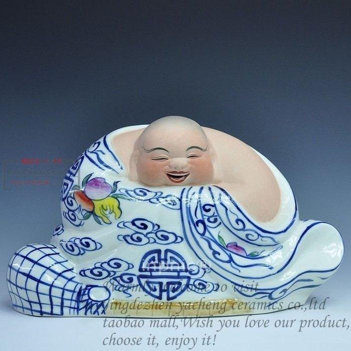 INPHIC-宗教 景韻陶瓷器彌勒佛浮雕 雕塑瓷人物瓷 《青花哈哈佛》擺飾工