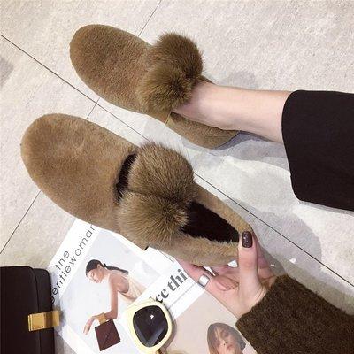 【Trend Sh】2018秋冬加棉豆豆鞋女正韓毛毛平底單鞋學生百搭兔毛球保暖棉鞋