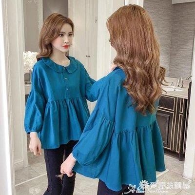 棉麻上衣 2020秋季新款韓版長袖襯衫女設計感小眾百搭寬鬆娃娃衫棉麻上衣潮 愛麗絲