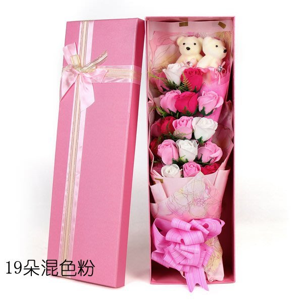 5Cgo【鴿樓】含稅會員有優惠  521064171728 母親節肥皂花混色玫瑰禮物花束香皂花送媽媽生日禮物19朵+禮盒