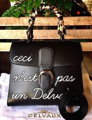 DELVAUX 專櫃 真品 Brillant MM黑色牛皮 刺繡英文字款 Humour 極少量【全新收藏價288000】