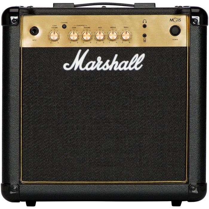 《小山烏克麗麗》公司貨 Marshall MG15 15W 金色 15瓦 電吉他 音箱 附耳機/MP3插孔 MG15CF