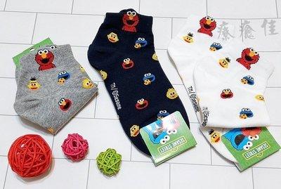 韓國品牌襪子 滿版芝麻街短襪  韓國襪子 短襪 中筒襪 隱形襪 船型襪 療癒佳