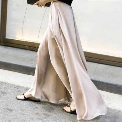 褲裙 高腰闊腿滑順緞面雪紡垂墜寬褲  萌蔓物語【KX3299】韓氣質女寬管褲褲裙