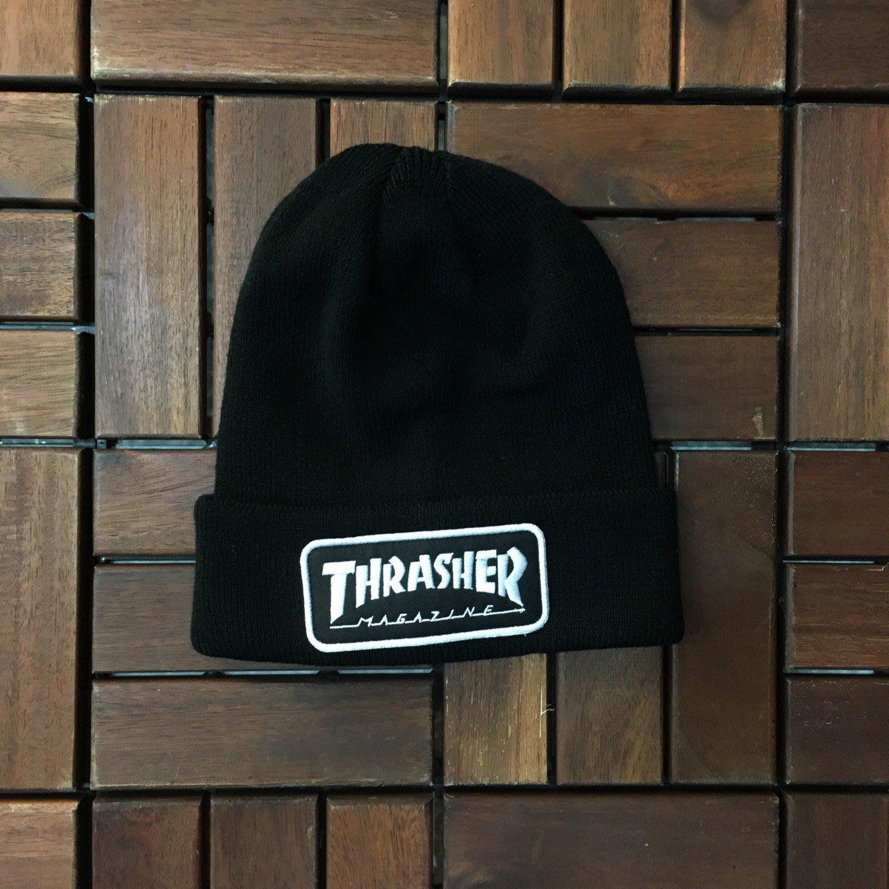 3757fc3bd ☆LimeLight☆ THRASHER LOGO PATCH BEANIE 毛帽 黑色