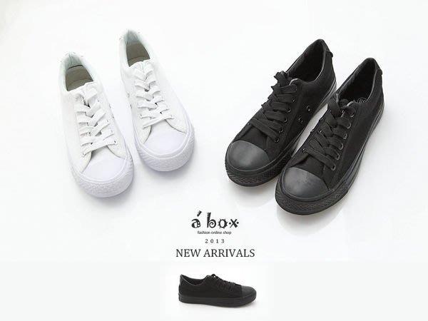 格子舖*【AA22】經典簡約男碼(40~44)單色素面綁帶設帆布鞋 2色現貨