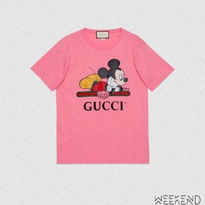 【WEEKEND】 GUCCI x DISNEY 迪士尼 聯名 Logo 米奇 短袖 上衣 T恤 粉色 492347