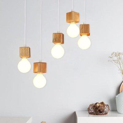 【德興生活館】簡約實木方塊燈頭客廳臥室書房咖啡廳吊燈 限時促銷