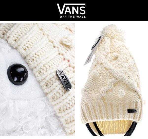 VANS 滑板潮牌㊣超保暖超厚 球球造型 毛帽/針織帽/毛線帽 男女通用 鬆軟毛球 白色【現貨免運】 ↗小夫妻精品嚴選↖