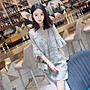 韓版氣質復古蕾絲縷空連身裙七分袖洋裝...