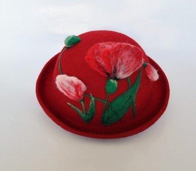 【獨立原創】手工訂製!非常優雅的女子。修長冷豔的鬱金香。紅色和粉紅,大紅,很立體。手作羊毛氈捲邊圓帽+禮帽+圓頂帽