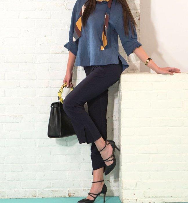 超時尚9分喇叭褲size:XL藍色