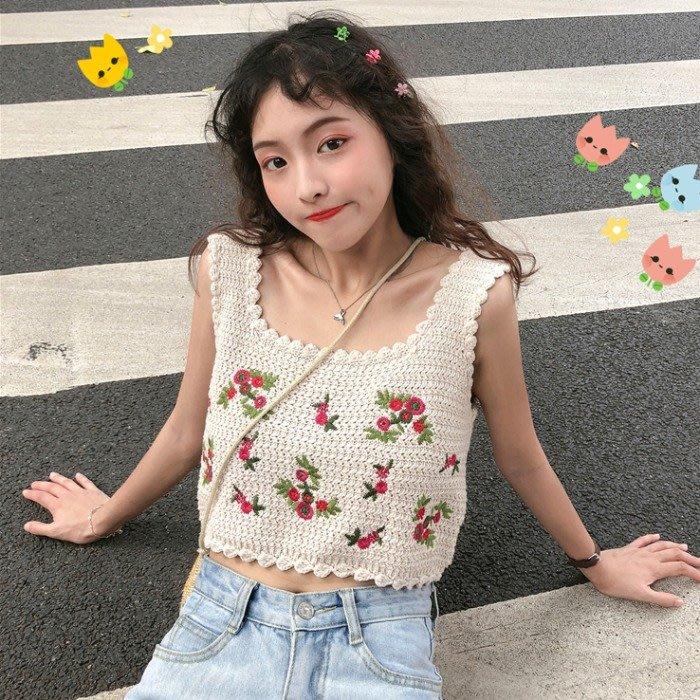 韓版 平口T恤 一字肩 刺繡方領短款吊帶上衣網紅無袖針織背心外穿女