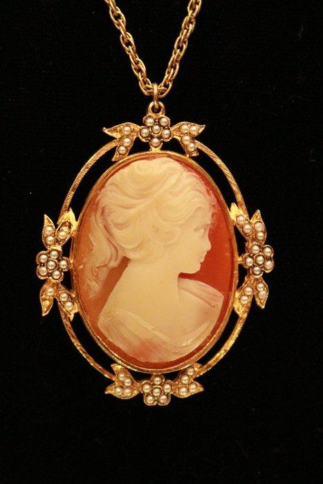 【家與收藏】稀有珍藏歐洲古典法國優雅細緻CAMEO鑲嵌浪漫女神浮雕珍珠項鍊/墜子