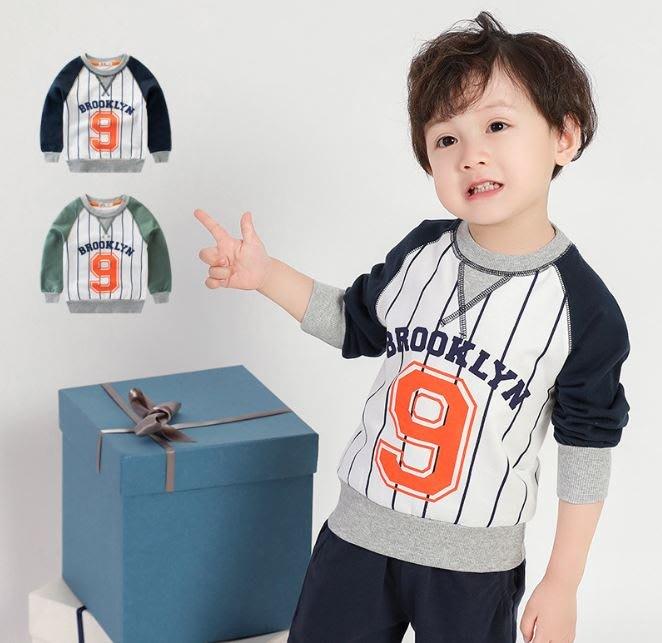 ❤現貨在台🎉2⃣4⃣H可出F071❤寶寶衣服男童長袖T恤 長袖上衣 外出服 運動服 棒球衣 條紋 (貴族藍袖款)