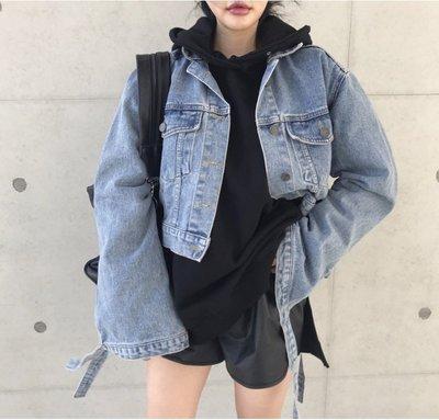 Gigi歐尼 韓國代購 正韓 【 BV3063  】 袖口綁帶短版牛在外套