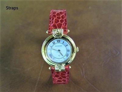 寶齊萊Paradiso 紅色鴕鳥皮錶帶手工錶帶 Bucherer Paradiso red ostrich strap