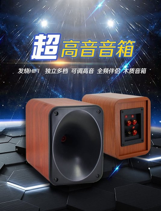 SONY號角高音喇叭可調高音木質音箱 發燒級帶高音分頻超高音音箱 紅木紋超高音喇叭音響