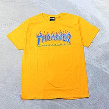 【車庫服飾】THRASHER x CHAMPION BLAZING FLAME TEE 火焰LOGO 小標 短T