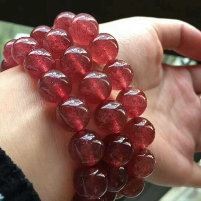天然紅草莓晶手鏈女款顏色紅潤無優化晶體透旺夫石助姻緣10毫米