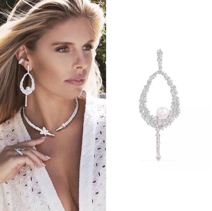 💎1445、唯美繁花水滴珍珠清新微鑲耳環(單邊)💎正韓飾品 耳環 珠寶 925純銀針