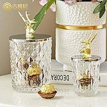 〖洋碼頭〗美式家居飾品玻璃儲物罐樣板間高檔金屬鹿頭裝飾器皿軟裝輕奢擺件 jwn587