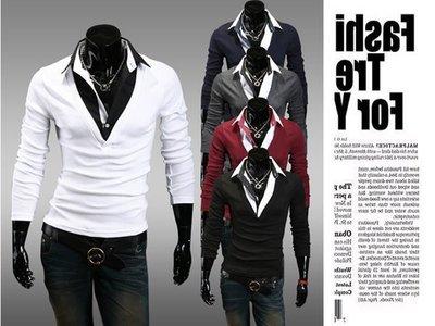 『潮范』新款韓版修身男士連體假兩件T恤休閒長袖T恤素面T恤撞色T恤潮TNRB02076