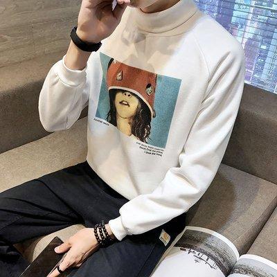 高領T恤 M-5XL 堆堆領打底衫 日系 63%聚酯纖維37%棉 加絨加厚衛衣 限時折扣 大尺碼 男裝 吉部