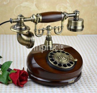 INPHIC-歐式仿舊電話機 中式古典旋轉撥號電話機 實木古典電話機