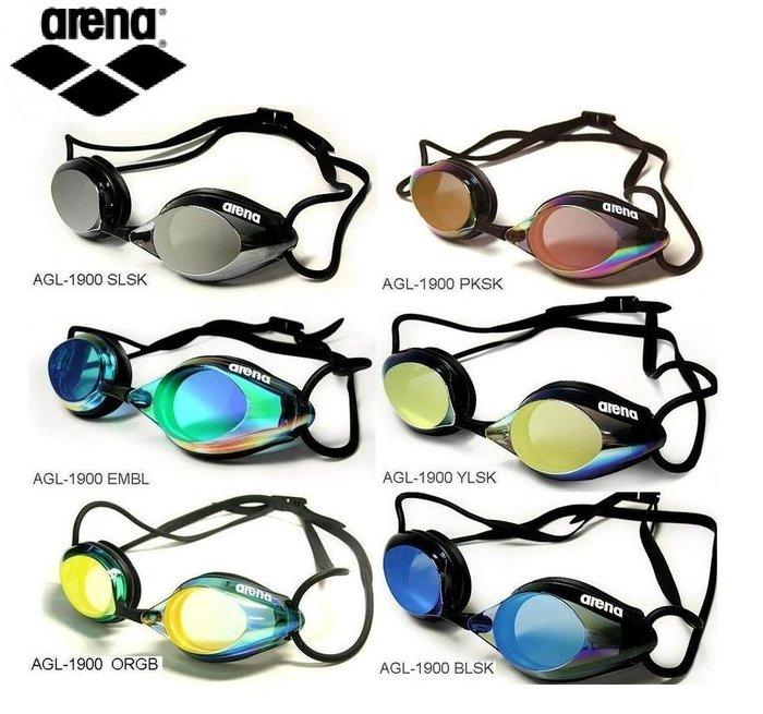 ~有氧小舖~日本製 arena 競技型泳鏡 AGL1900 比賽泳鏡 鍍銀款