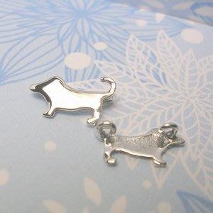 琥珀貓~【925純銀材料配件】連結配件~A0064~臘腸狗~一個