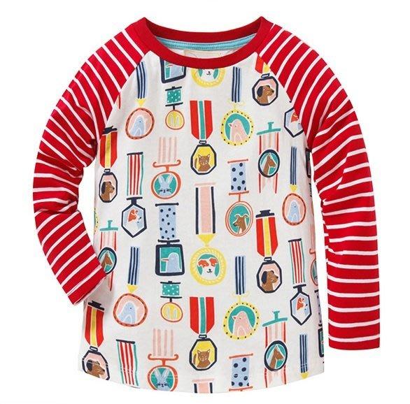 ☆草莓花園☆BM-2405 紅色條紋動物  歐美風兒童長袖衣服 純棉童T 女童  童T恤